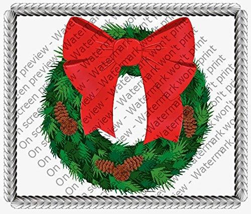 "2"" Cupcake (12 Per Sheet) - Christmas Wreath - Edible Cake or Cupcake Topper - D246"