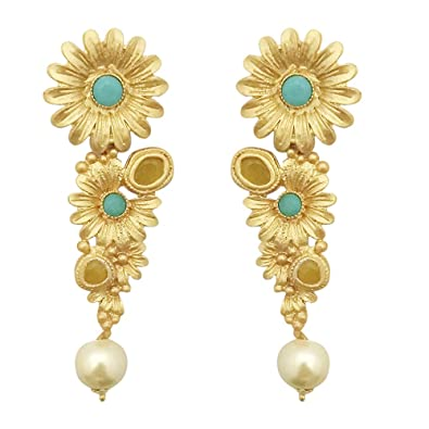 df0bf9777 Buy JewelMaze Blue Pota Stone Gold Plated Floral Dangler Earrings-1313109C  Online at Low Prices in India   Amazon Jewellery Store - Amazon.in