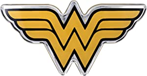 Fan Emblems Wonder Woman Domed Chrome Car Decal - Classic Logo (Black,Yellow and Chrome)