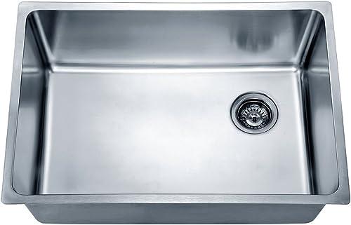 Dawn DSU2517 Undermount Single Bowl Sink with Rear Corner Drain, Polished Satin