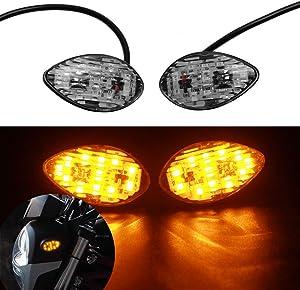 LED Front Flush Mount Turn Signal Light Brake Blinker Indicator Market Lamp for Honda Grom 2014-2018 -Smoke Lens (Pack of 2)