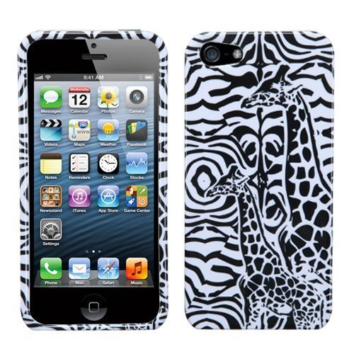 Giraffe Faceplate - Black Giraffe Pair Faceplate Hard Plastic Protector Snap-On Cover Case For Apple iPhone 5