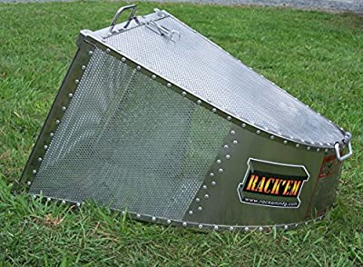 Multi-Mount Stainless Steel/Aluminum 4.4 Cubic Foot Grass Catcher by RACK 'EM - RCMMS4-EXS1-UN with 1 Face Plate