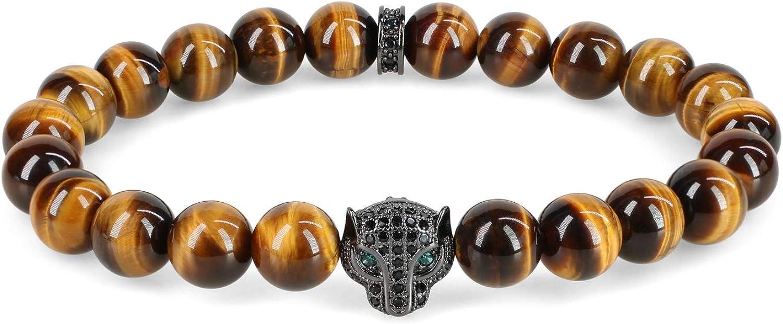 COAI Pulsera para Hombre con Cuentas de Piedras Naturles y Amuleto Leopardo con Circonitas