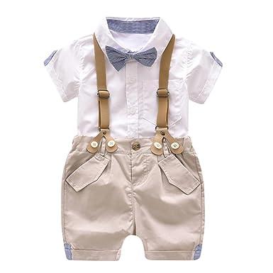 6510b9d99426 Amazon.com  WARMSHOP Boys Summer Gentleman Clothes Set