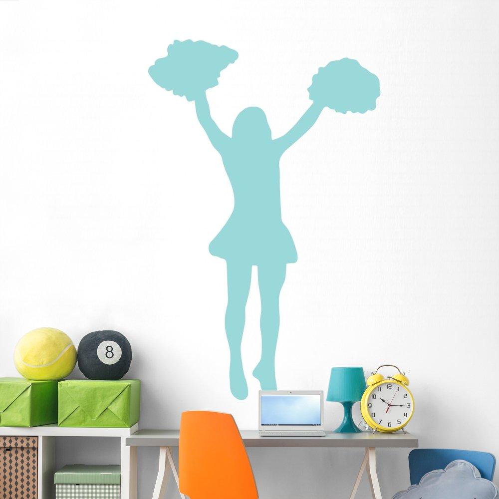 Amazon.com: Azul pompones animadora calcomanía de pared por ...