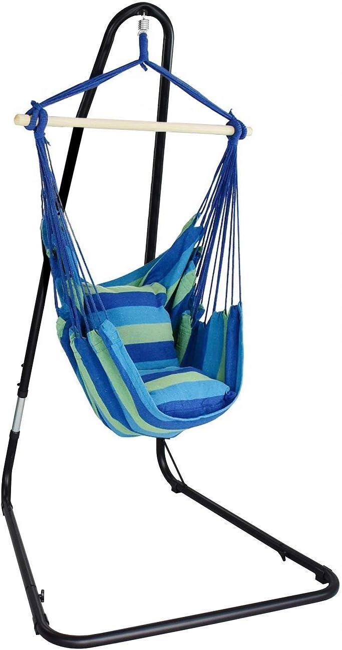 Hammock Chair Swing Seat Indoor Outdoor Garden Patio Single Hanging Rope Green