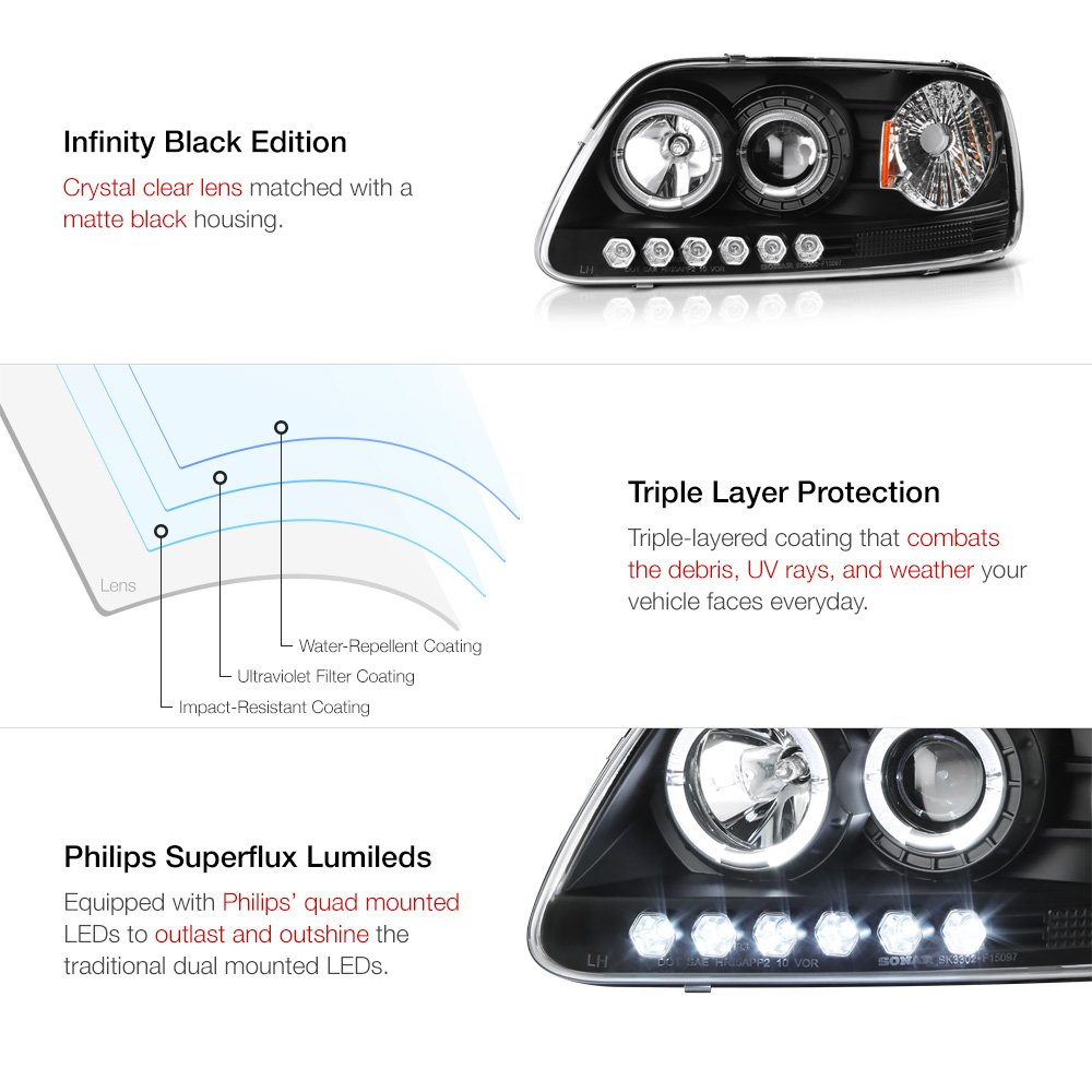 For 1997-2003 Ford F-150 Pickup Truck Driver /& Passenger Side LED Halo Ring Black Housing Projector Headlight Headlamp Assembly