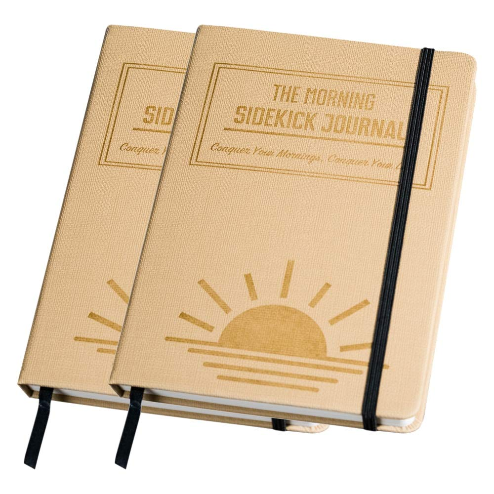 Bundle - Two Beige Morning Sidekick Journals. Morning Habit Tracker! A Science Driven Daily Planner for Building Positive Life Habits