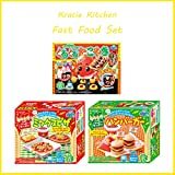 Kracie Popin Easy to prepare Cooking Kit Set of 3 with burger,pizza and Japanese Takoyaki