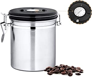 Chef's Star 16 oz Stainless Steel Airtight Canister Coffee Vault with Built-in CO2 Gas Vent Valve and Date Tracking Wheel for Coffee Beans and Coffee Grounds
