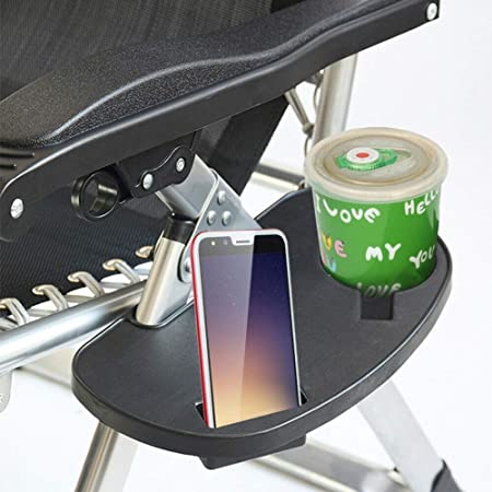 Zero Gravity Chair Cup Holder Side Tray w// Mobile Device Slot /& Snack Tray Black