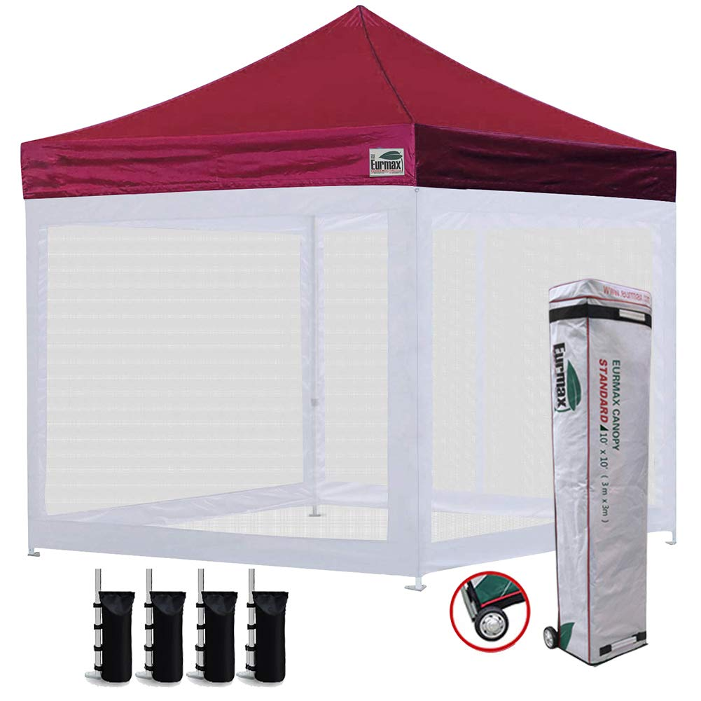 Eurmax 10×10 Ez Pop up Canopy Screen Houses Shelter Commercial Tent with Mesh Walls and Roller Bag,Bouns 4 Sandbags Weight Burgundy