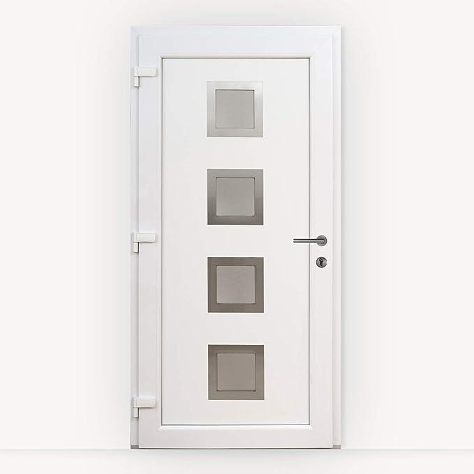 HORI/® Haust/ür Lille I Kunststoff Haust/üre Eingangst/üren Aussent/ür mit Glaseinsatz I Farbe Wei/ß I Gr/ö/ße 1980 x 980 mm
