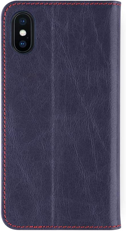 iATO iPhone Xs/X Leather Wallet Case Premium Protective Genuine Blue Cowhide Wallet Cover. Stylish Folio Flip Back Bookcase Accessory for iPhone Xs (2018) / X (2017) | Supports Wireless Charging