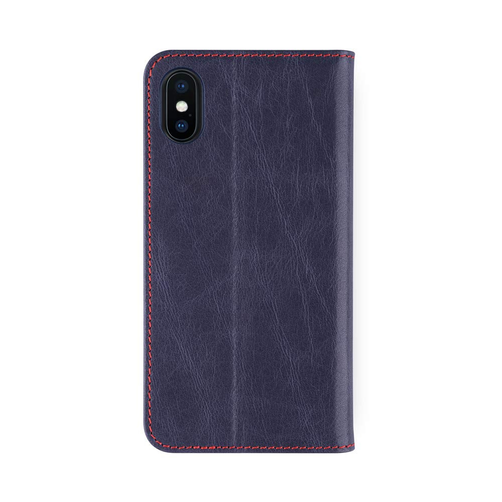 iATO iPhone X Genuine Dark Blue Leather Case Premium Protective Wallet Real Cowhide Cover. Unique, Stylish & Classy Folio Flip Book Type Accessory for iPhone X / 10 [Supports Wireless Charging]