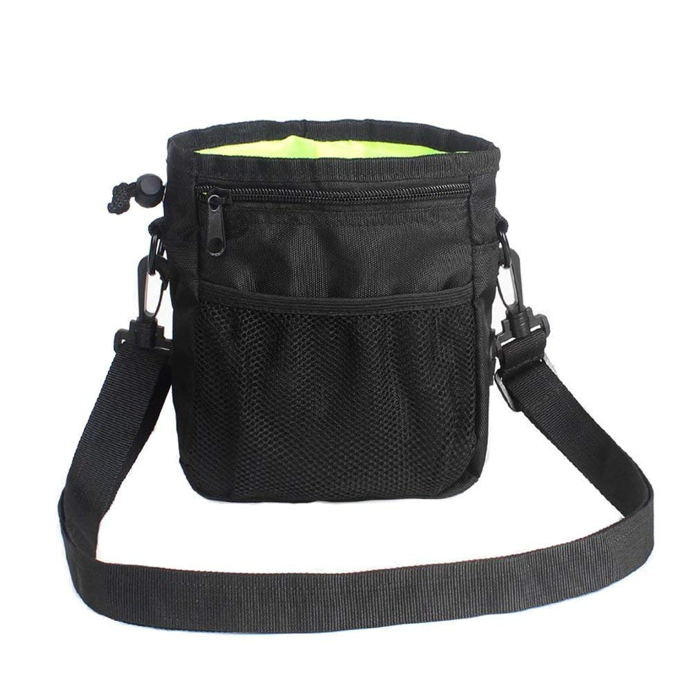 HANWELL Dog Treat Pouch with Built-in Poop Bags Dispenser, Hand-Free Pet Training Bags Pocket with Adjustable Waist Belt and Shoulder Strap for Running Carry Food and Toys-Black