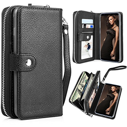 Galaxy S8 Case, Galaxy S8 Wallet Case, Pasonomi PU Leather Protective Shell Detachable Folio Flip Holster Carrying Case with Card Holder for Samsung Galaxy S8 2017 (Black)