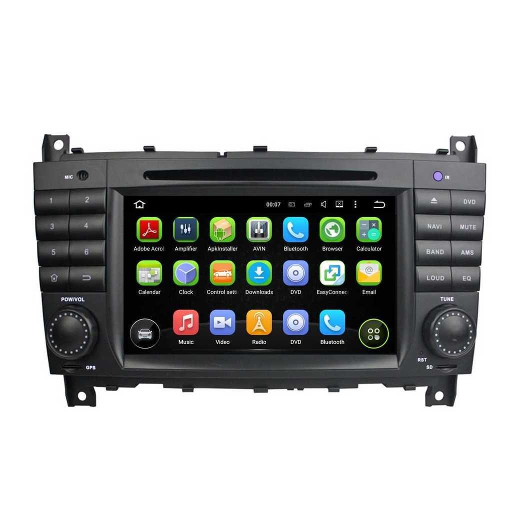 2 Din 7 pouces Android 5.1.1 Lollipop stéréo de voiture pour Benz C Class W203(2004 2005 2006 2007),DAB+ radio 1024x600 écran tactile capacitif avec Quad Core Cortex A9 1.6G CPU 16G flash et 1G de RAM DDR