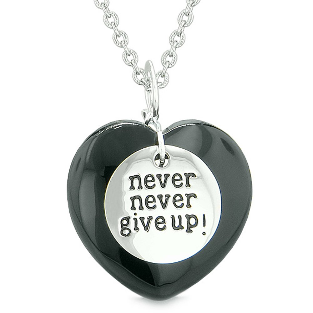 Amulets Never Give Up Love Couple Best Friends Hearts Black Agate Neon Green Simulated Cats Eye Necklaces