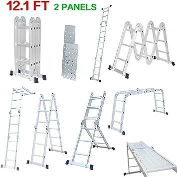 Finether-3.7M Escalera Plegable (12.1FT, Multi-propósito Extensible, Buena Calidad, Mayor Seguridad, Aluminio) (Con panel): Amazon.es: Bricolaje y herramientas