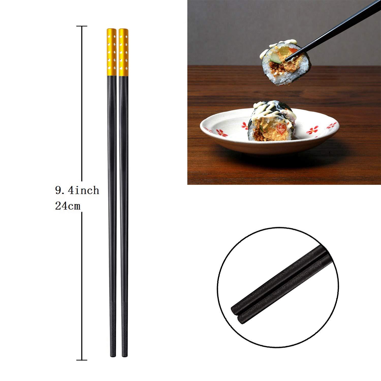 Aissy 10 Pair of Fiberglasses Chopsticks Antiskid Reusable Dishwasher-Safe Chopsticks with Gift Box,Color B