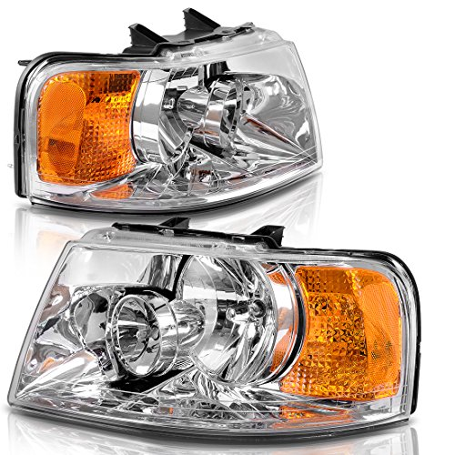Headlights Assembly Replacement Direct Fit for 03-06 Ford Expedition Chrome Housing Amber Reflector - Ford Expedition Headlight Assembly