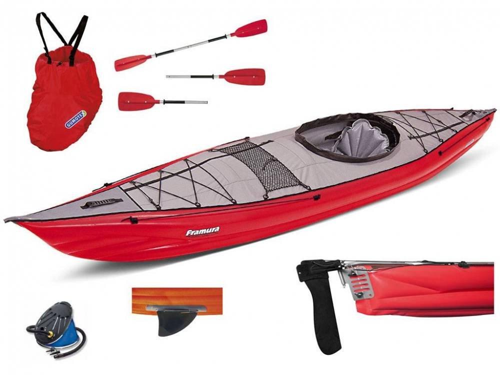 Gumotex - Framura Set Rossa Kayak Gonfiabile con Pinna + pagaia + Gonfiatore 045222-R (5C/11C) GUMOTEX