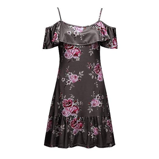 5365ea0c4d Women Summer Dresses Fashion Off-Shoulder Strap Flora Print Midi Sundress  Casual Ruffle Mini A