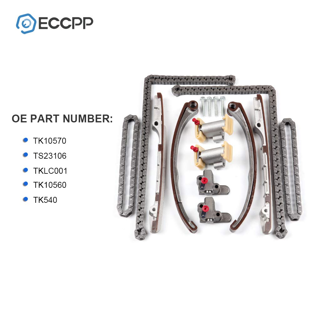 ECCPP TK10570 Timing Chain Kit Tensioner Guide Rail Fits For 03-08 Jaguar S-Type 4.2L V8 DOHC