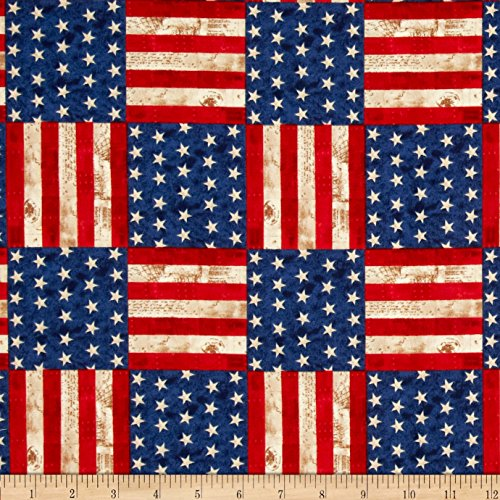 Robert Kaufman America The Beautiful Flag Blocks Americana F