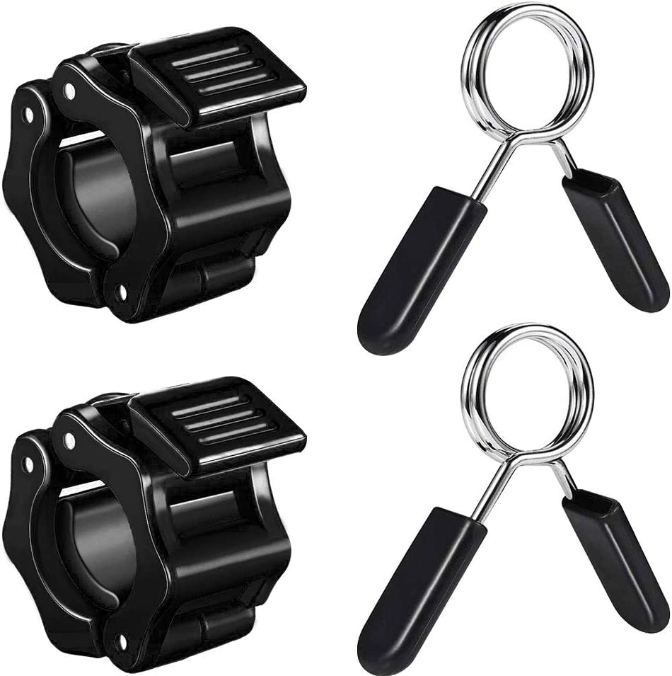 Strength and Training 1 inch with 2 Pcs Exercise Barbell Spring Clips kuou 4 Pcs Barbell Clamps Set,2 Pcs Barbell Clamps Quick Release Dumbbell Lock Clips for Weightlifting Workout 1 inch