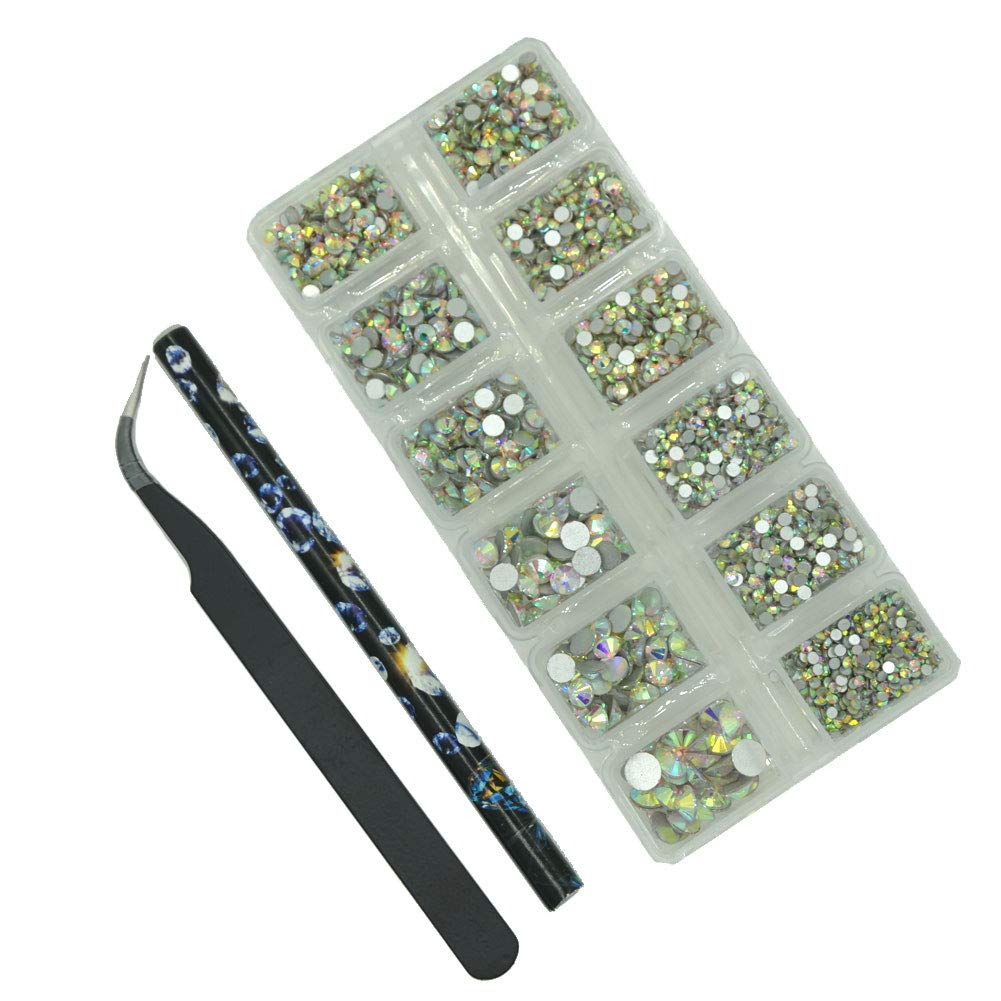 Queenme Upgrade 3800pcs Nail Crystals Flatback Rhinestones for Nails Mix Size 2mm-6mm AB Nail Art Decorations Round Glass Gems Stones for Shoes DIY Crafts, 7 Sizes With Wax Pen and Tweezers