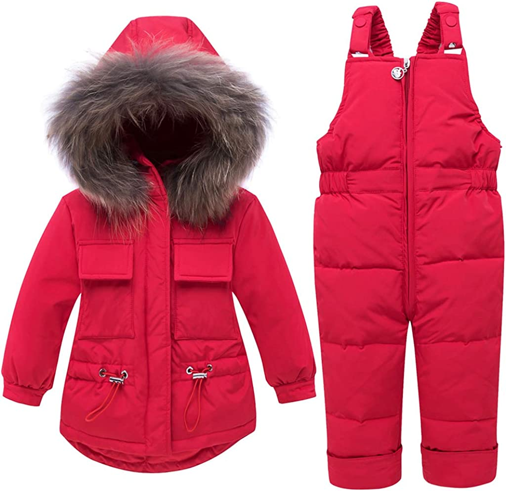 Baby Winter Snowsuit Puffer Jacket Toddler Hoodie Coat Down Snowpants Bib 2 Piece Kids Clothing Outfit Set