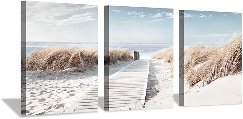Beach Staircase Canvas Black White Sea Landscape Wall Art Picture Home Decor
