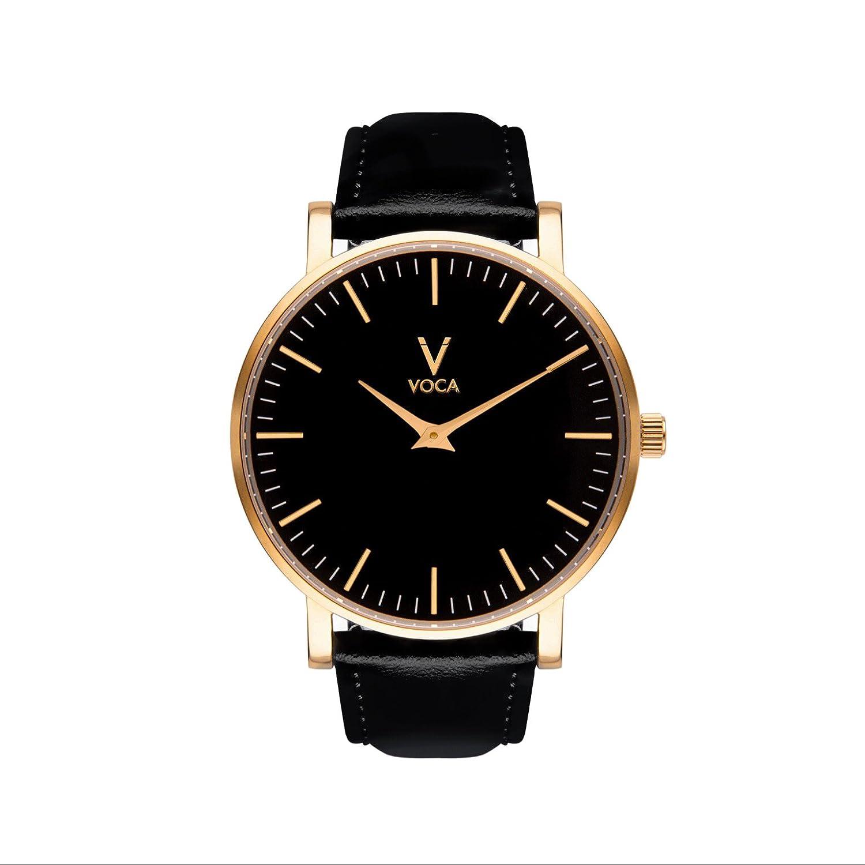 Tempus 40 mm schwarz und gold mit schwarzem Lederband