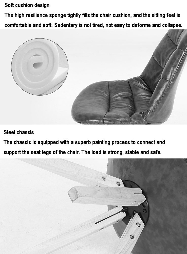 ZJM- Massivholz Esszimmerstuhl Casual Leder Leder Leder Stuhl Creative Restaurant Stuhl Rückenlehne Stuhl (Farbe   schwarz, größe   Set of 4) B07F9JF748 | Moderne und stilvolle Mode  120993