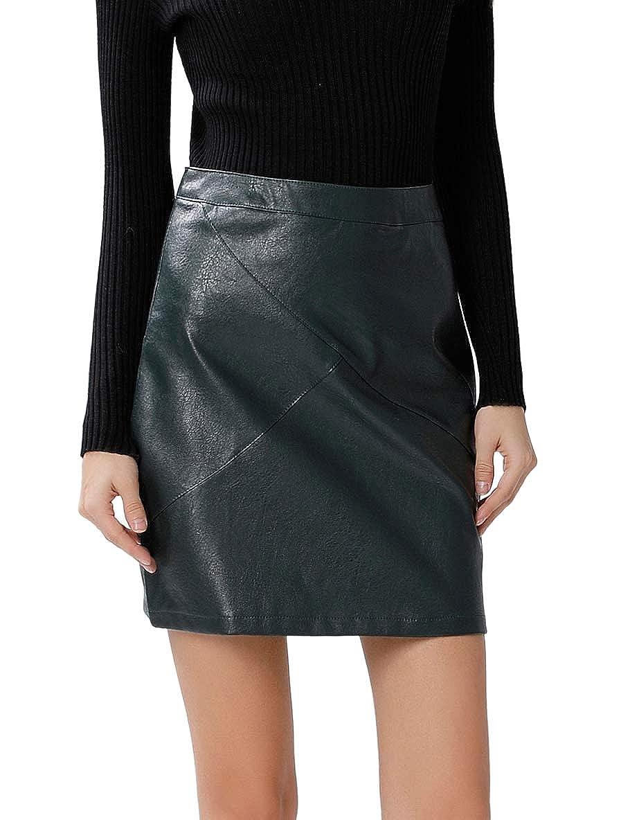 Dark Green GUANYY Women's Faux Leather Vintage High Waist Classic Slim Mini Pencil Skirt