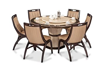 Durian Feng 35404 Six Seater Dining Table Set Beige Amazon In Home Kitchen