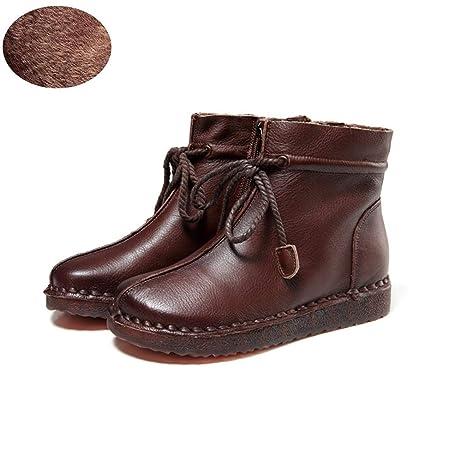 Hy Zapatos de Mujer, Botines Planos de Cuero de otoño/Invierno, Zapatos Retro