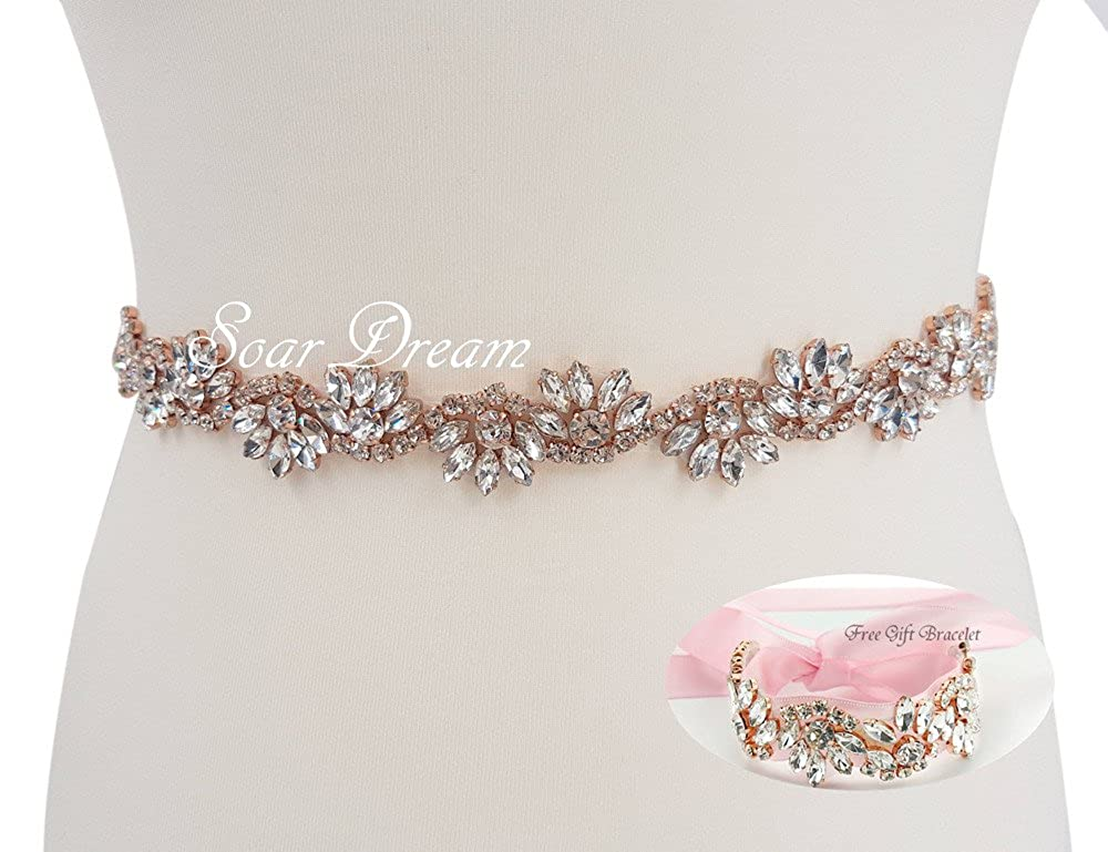 Pink Wedding Belts Wedding Bracelet with Crystals in Rose Gold Claws(8  colors Satin Choice) at Amazon Women s Clothing store  de876613d1d2