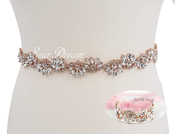 Pink Wedding Belts Wedding Bracelet with Crystals in Rose Gold Claws(8  colors Satin Choice 21fbaf700324