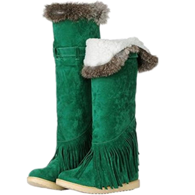Women's Fashion Winter Warm Faux Suede Thick Fleeced Tassel Belt Buckle Flat Knee High Snow Boots