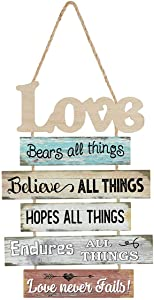 MACVAD Vintage Love Sign for Home Decor,Decorative Wood Plank Hanging Sign with Love Sayings - Love Never Fails