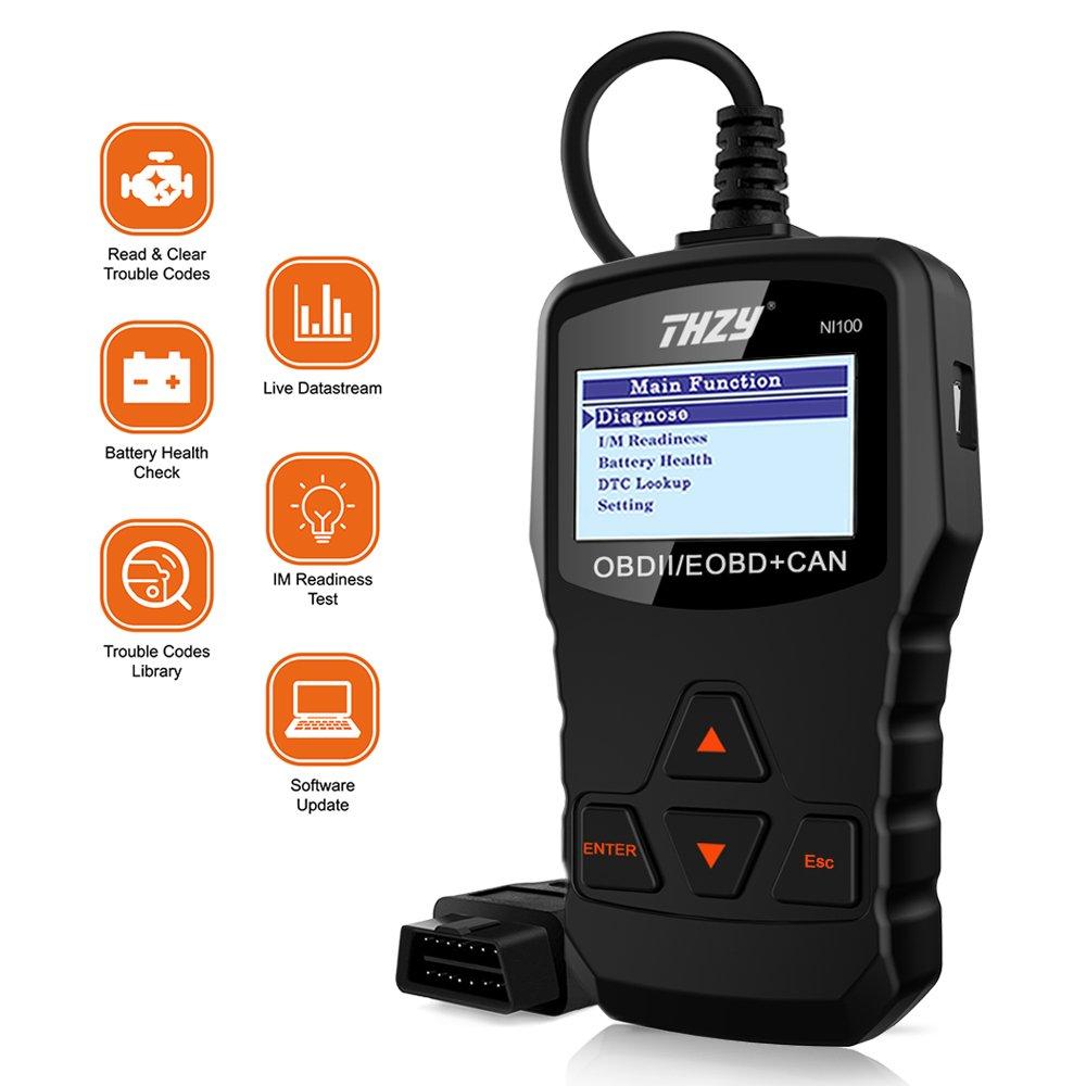 THZY OBD Diagnostic Scanner NI100 OBD code reader Diagnostic scan tool Car Fault Code Reader Battery Health Check scan tool for AUDI/VW/FORD/GM/CHRYSLER/BENZ/BMW/PORSCHE car, SUV, light duty vehicle
