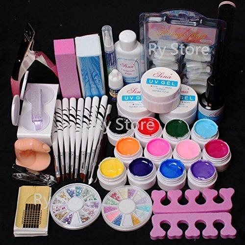 US Seller ~ 24 in 1 Combo Set Professional Color UV Builder Gel DIY Nail Art Decorations Kit Brush Buffer Cuticle Revitalizer Oil Pen Tools Natural White Nail Tips Rhinestones ()