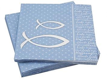 20 Servietten Glaube Motiv Fisch Blau Grun Bibelspruch Tischdeko
