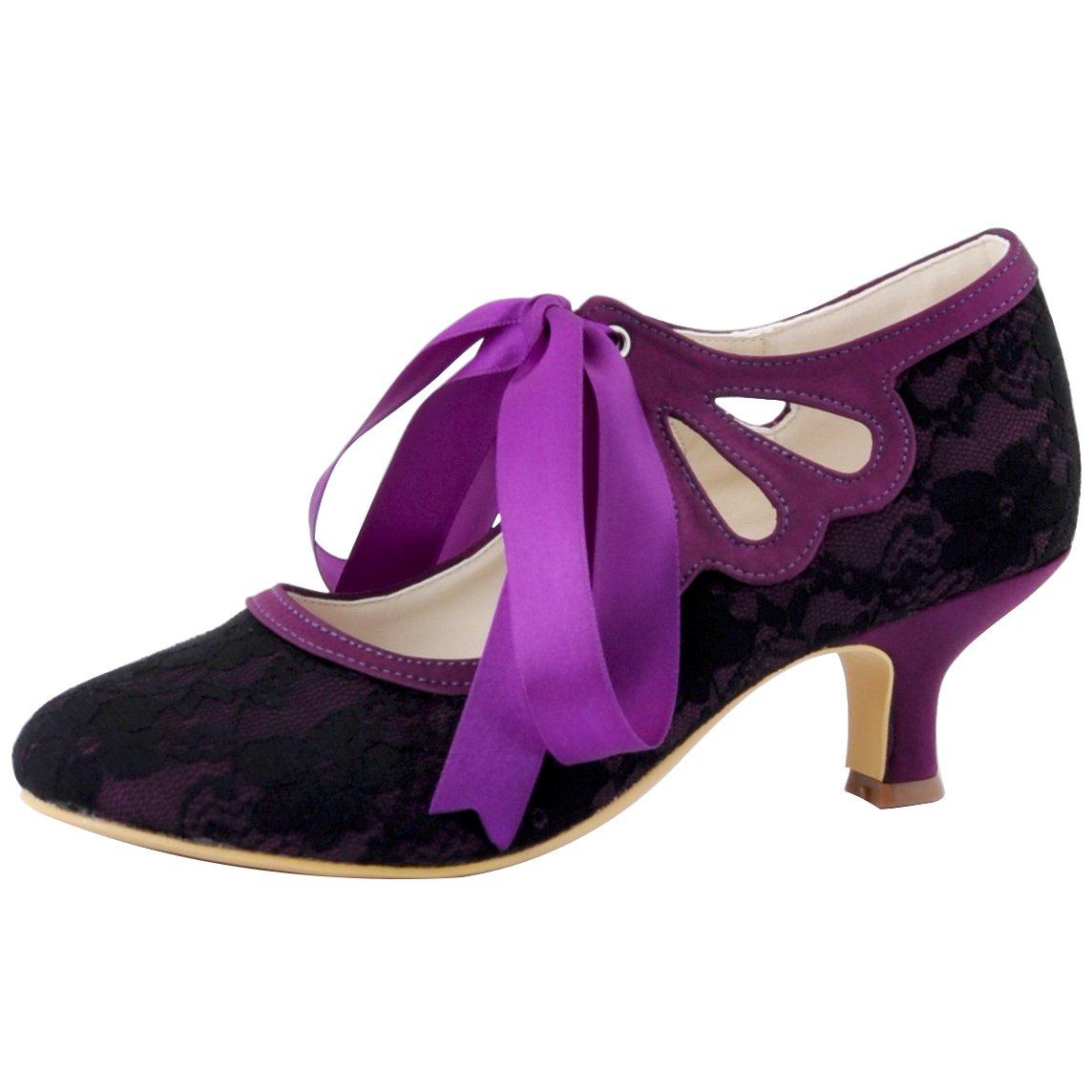 ElegantPark HC1521 Women's Mary Jane Closed Toe Low Heel Pumps Lace Wedding Dress Shoes B011NW79D4 5 B(M) US (true fitting 6 US) Cut-out Black