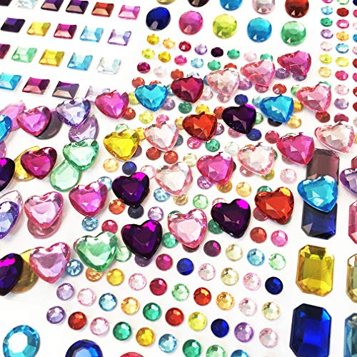 Self-Adhesive Multicolor Flatback Rhinestone Sticker Gems, Bling Craft Jewels Crystal Gem Stickers, Assorted Size and Shapes, 10 Sheets 406 ()