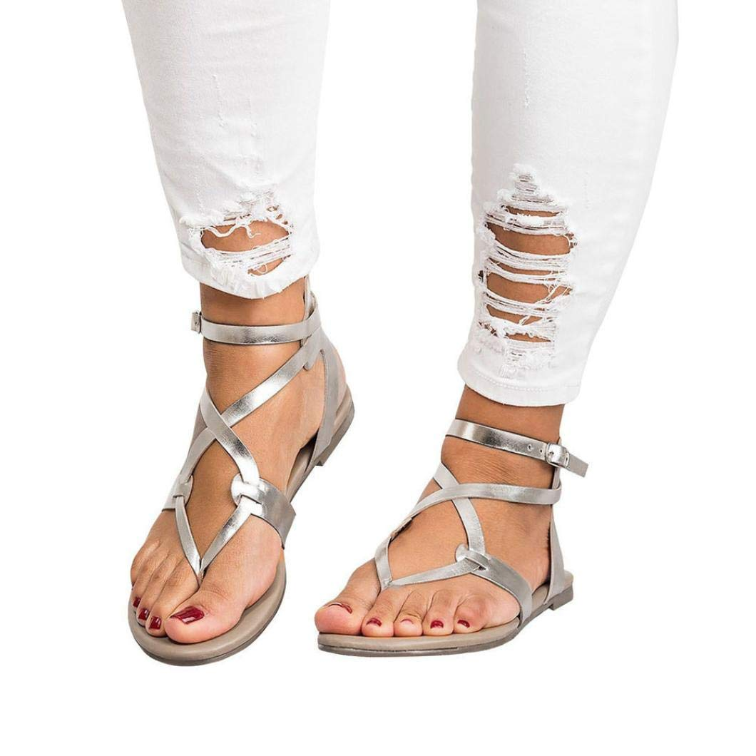 Women Buttoned Sandals,Summer Ladies Sandals Cross Strap Flat Ankle Roman Casual Shoes Beach Sandals (US:9, Silver) by BeautyVan-- (Image #1)